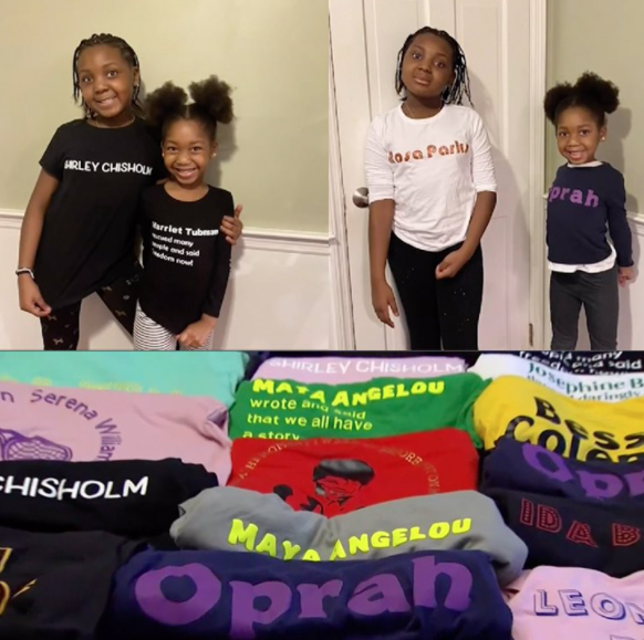 Celebrating women throughout Black History Month in T-shirts by mom Ernestine Jenkins