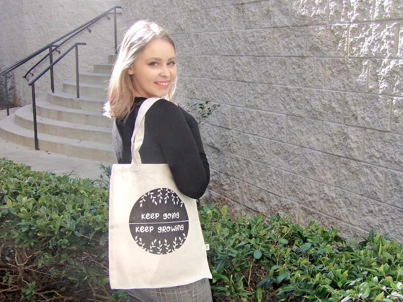 """Daylight Illustrations """"Keep going, Keep growing"""" tote bag"""