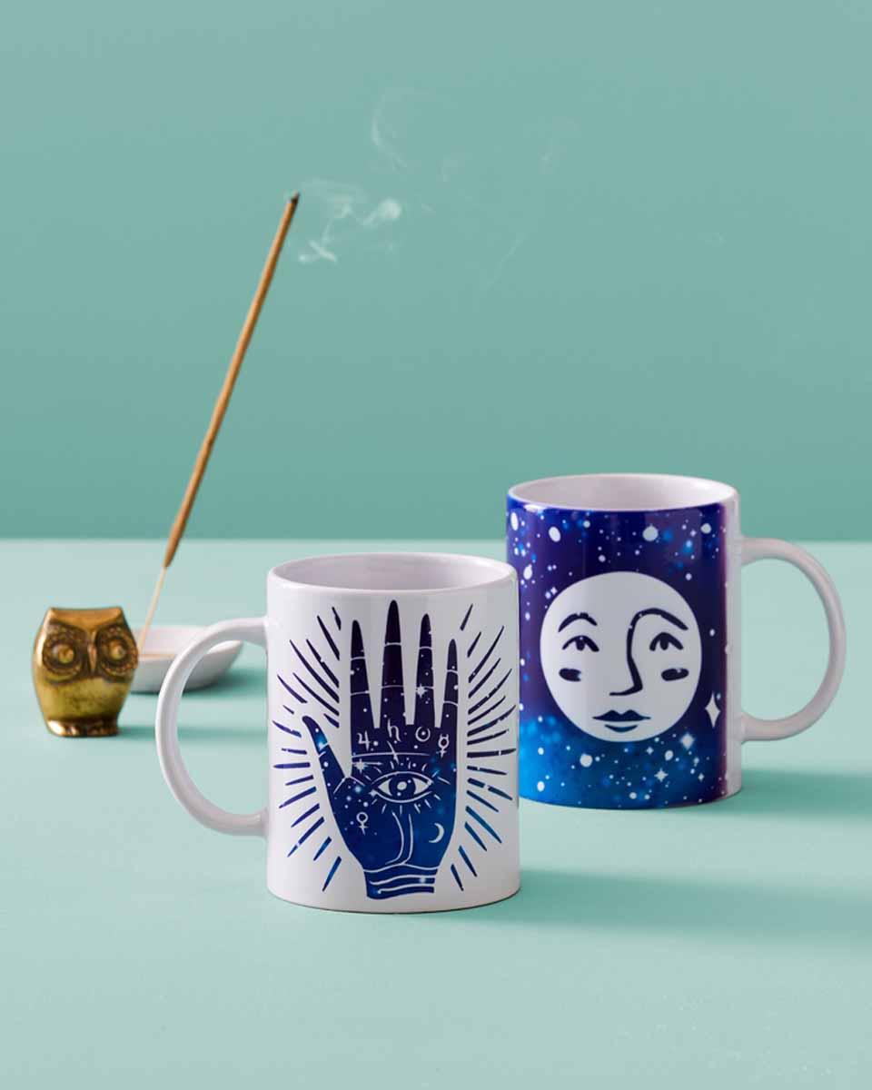 Cricut DIY mugs with moon and stars design