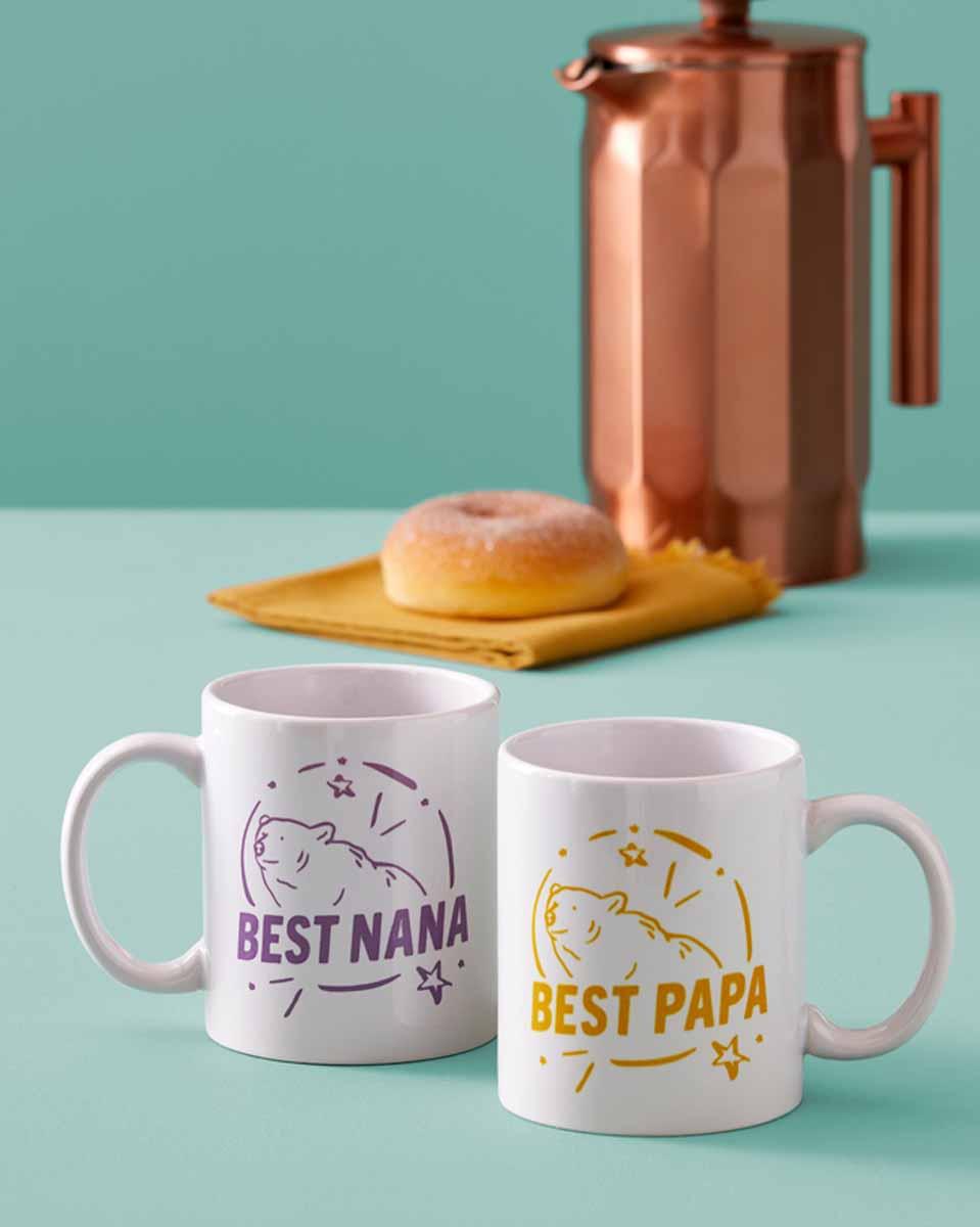 Personalized mugs for the grandparents using Cricut Mug Press