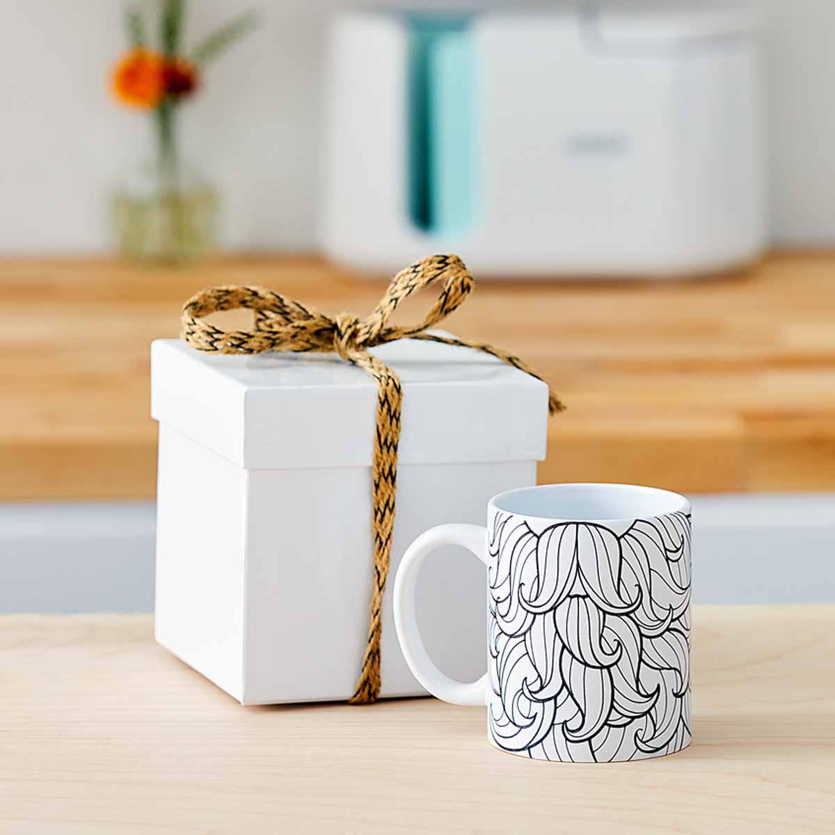 DIY mustache mug with gift box