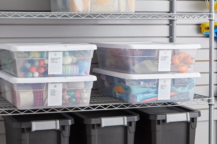 Seasonal storage bins on a storage shelf