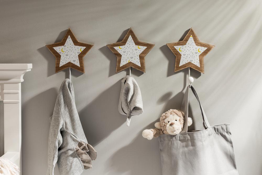 Three star-shaped wall hooks