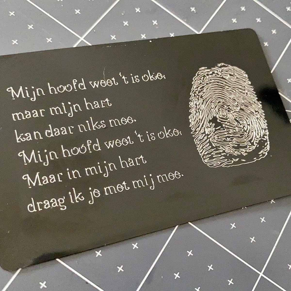 Tamara Tigchelaar - fingerprint remembrance plaque