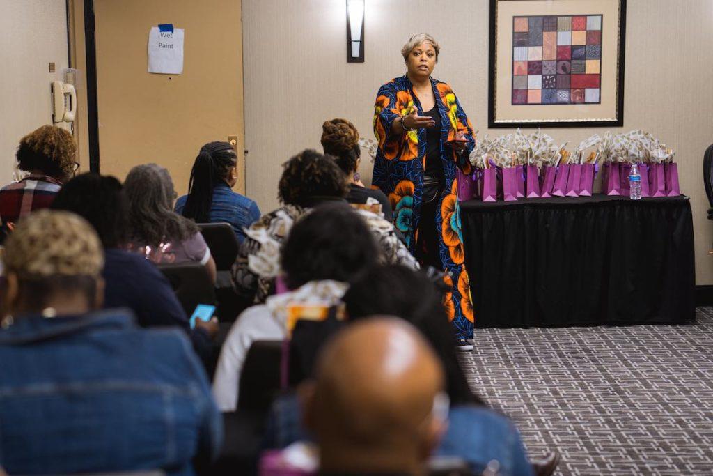 Karen Baxter speaking at Black Girls Craft event