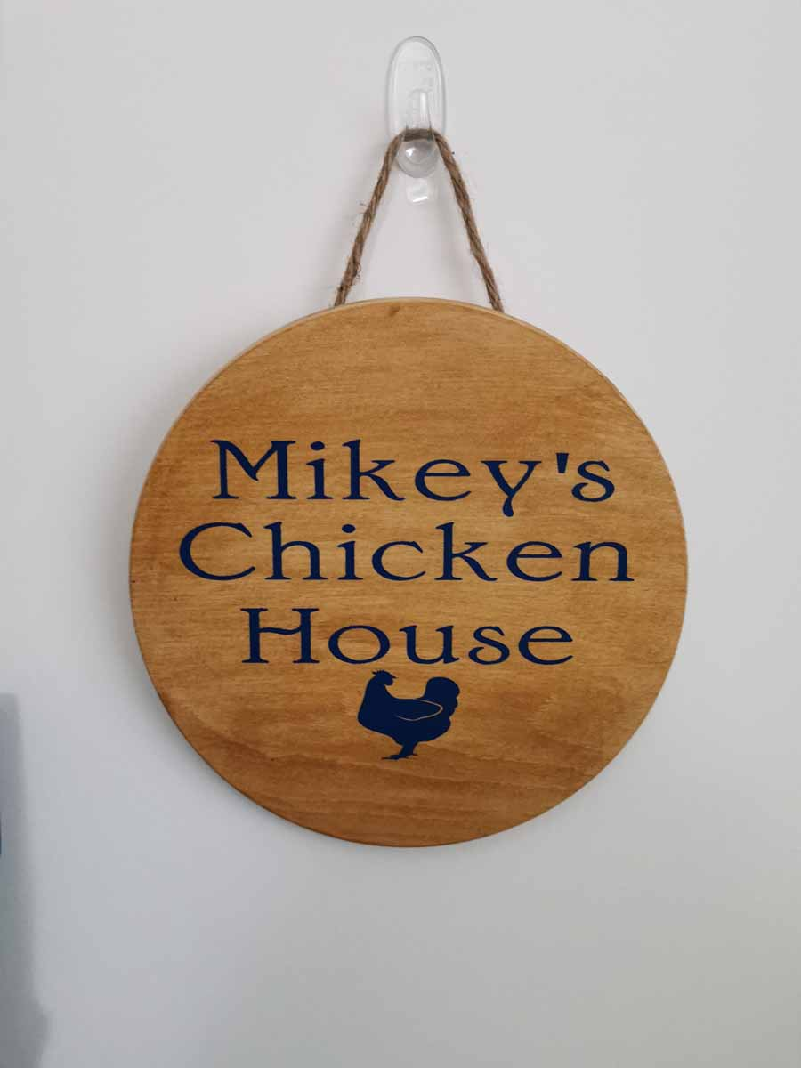 Lisa Johns - Mickey's Chicken House wood round sign