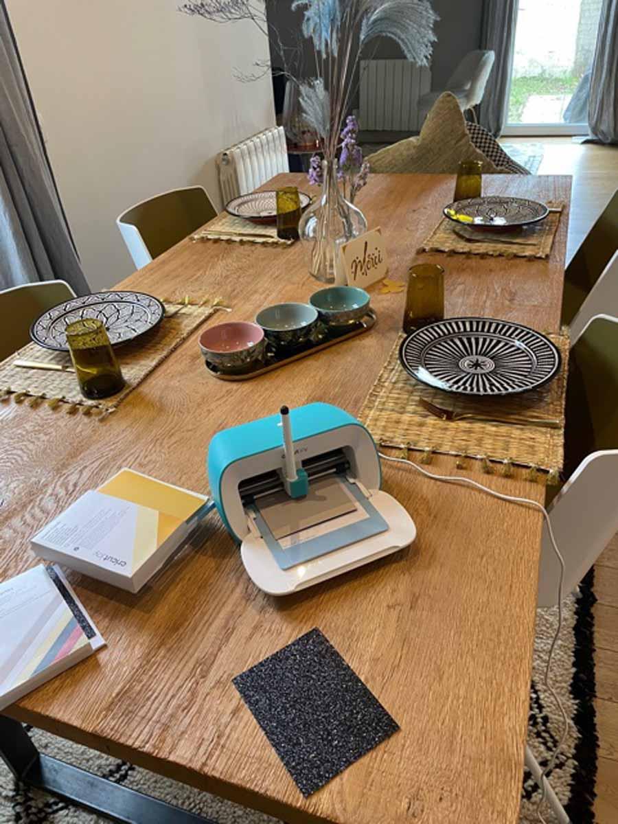 Amel Elwardi and her Cricut Joy dining room table setup