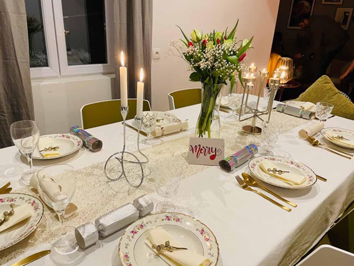 Amel Elwardi using Cricut to decorate table settings