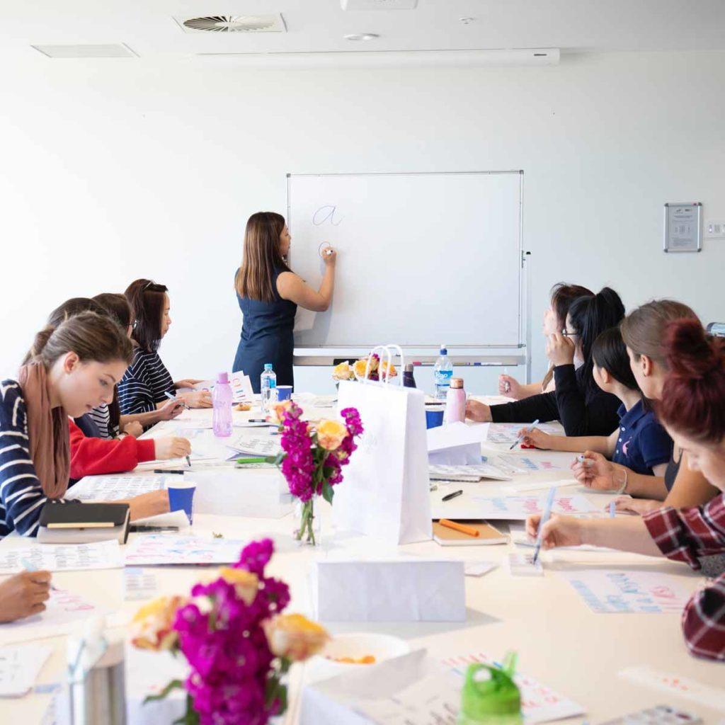 Liz Tu teaching a crafting class
