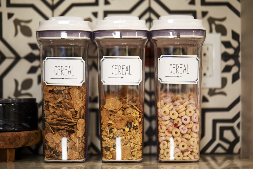 Cereal boxes with labels