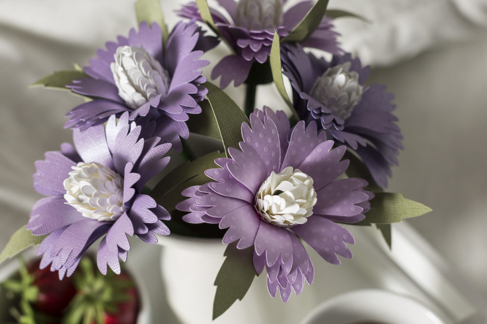 purple paper flowers