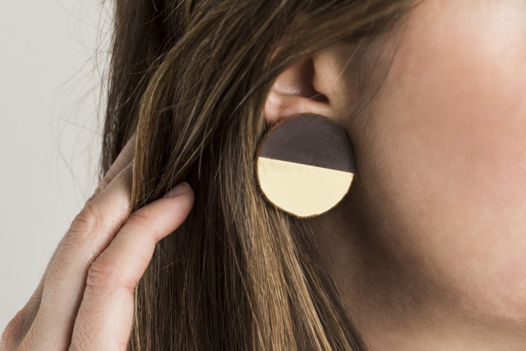 Leather disc earrings dipped in gold