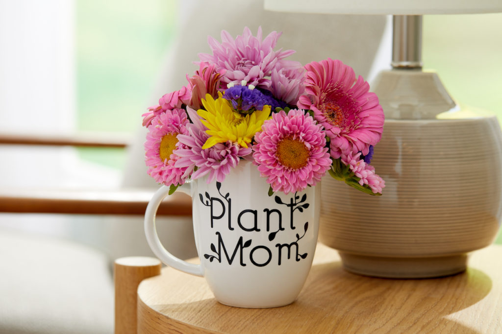 """Plant mom"" mug holding bouquet of flowers"