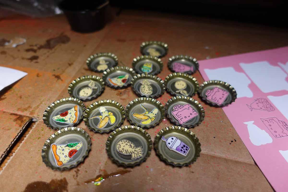 Bottle cap pins with Cricut Smart Paper