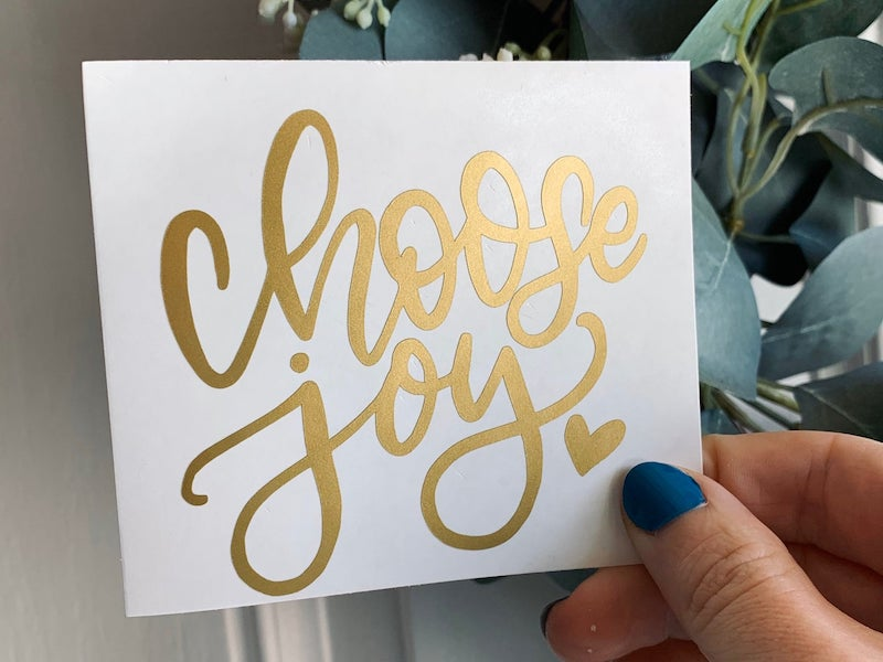 "Carissa Flores - Dos Flores Design, ""Choose Joy"" hand lettered decal"