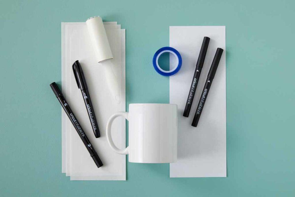 Cricut Mug Press - supplies needed for drawn mug project