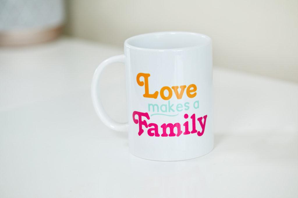 """Love makes a family"" mug"