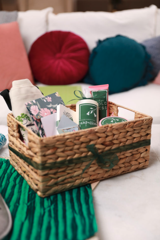 Basket of labeled self-care items