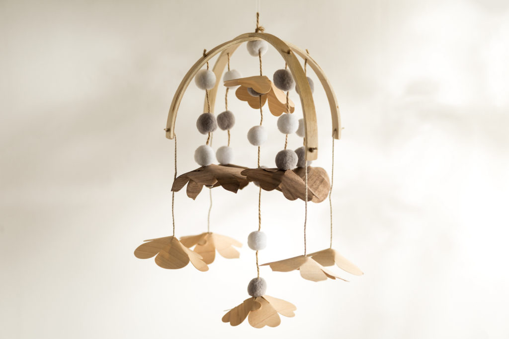 Wooden mobile for baby nursery