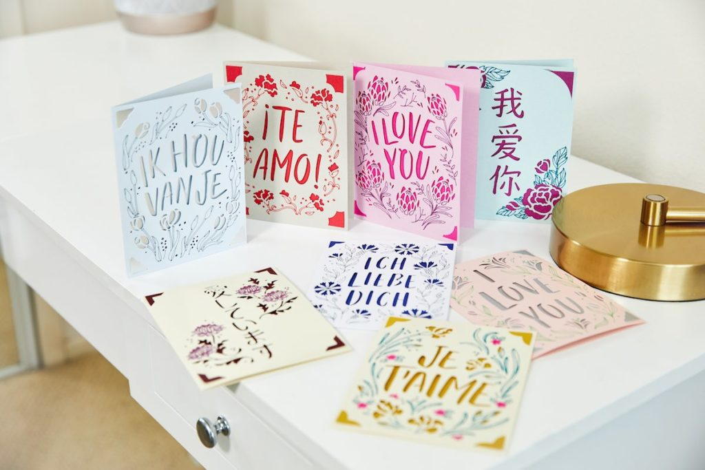"""I Love You"" cards in different languages"