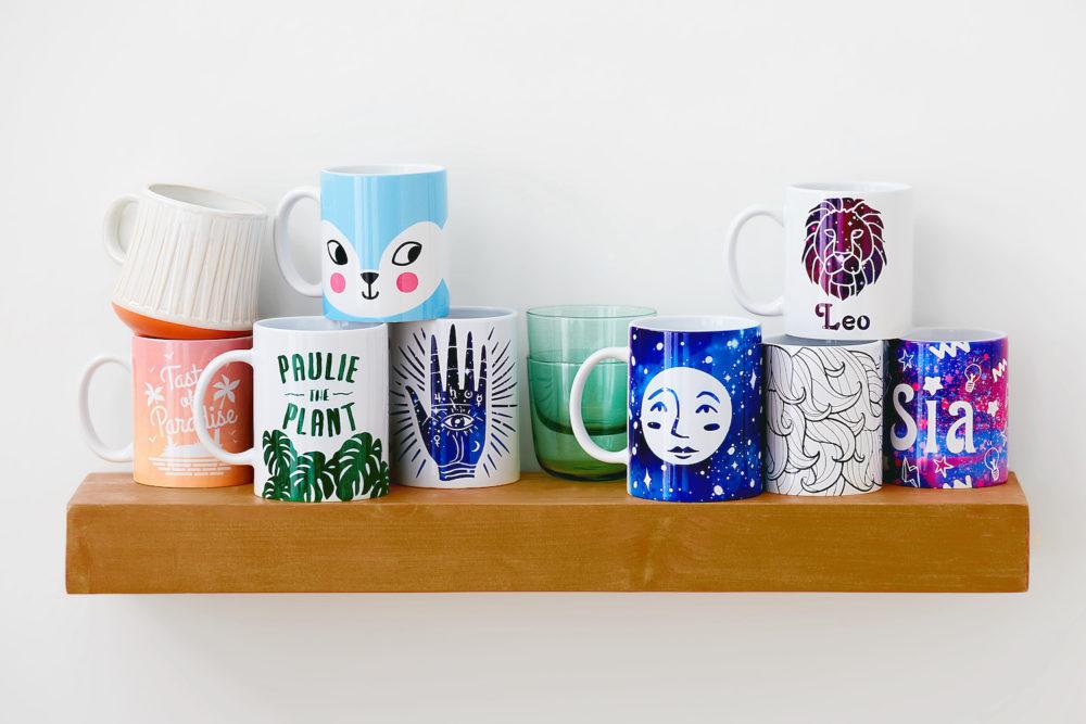 Mugs on a shelf