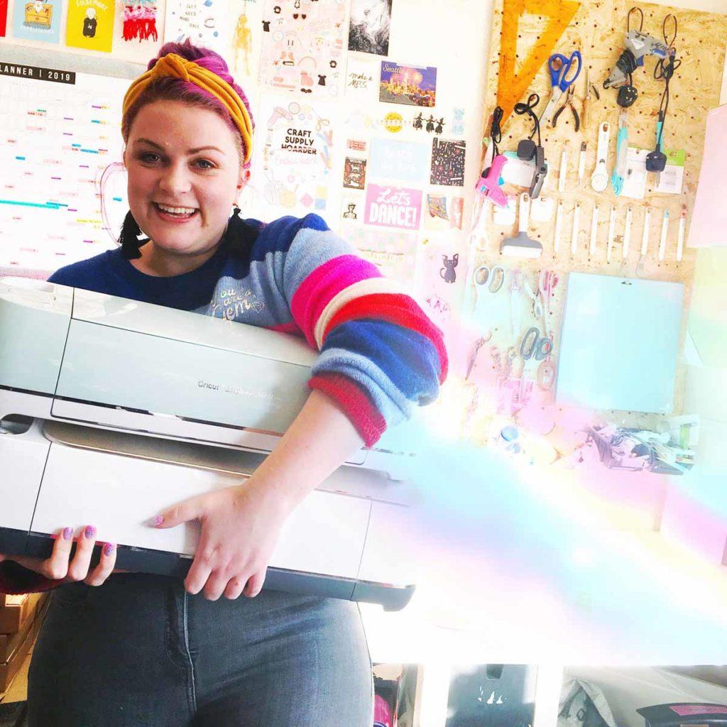 Emma Jewell with her Cricut machines
