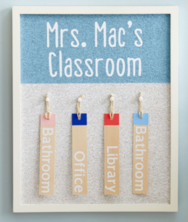 Key ring holder for classroom made with Cricut machine