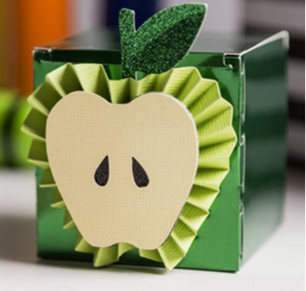 Paper apple gift made with Cricut machine