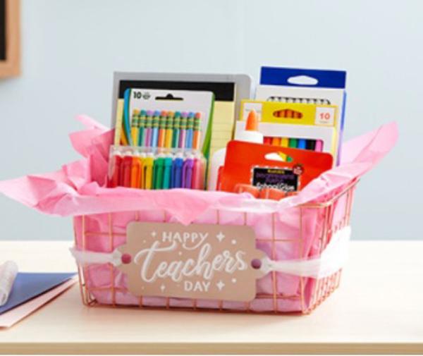 Teacher Gift Basket made with a Cricut machine