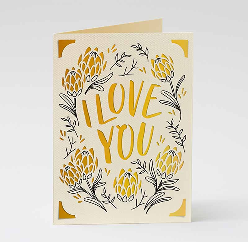 """Mother's Day """"I love you"""" cards - South Africa (Protea)"""
