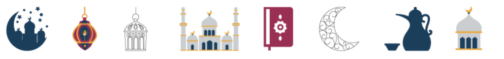 Ramadan icons and silhouettes