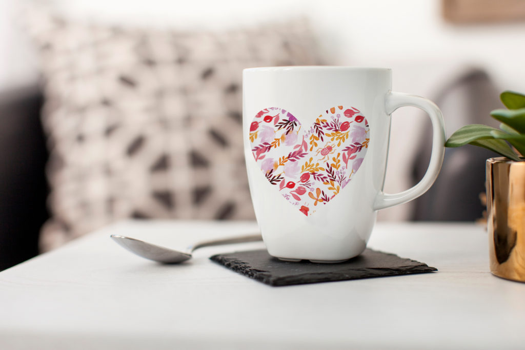 Mug with floral patterned heart