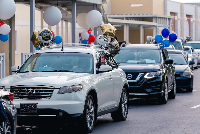 Graduation celebration in cars