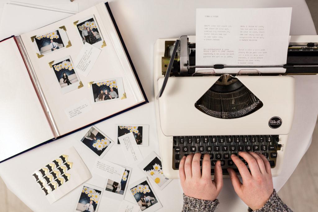 Typewriter and sentimental book