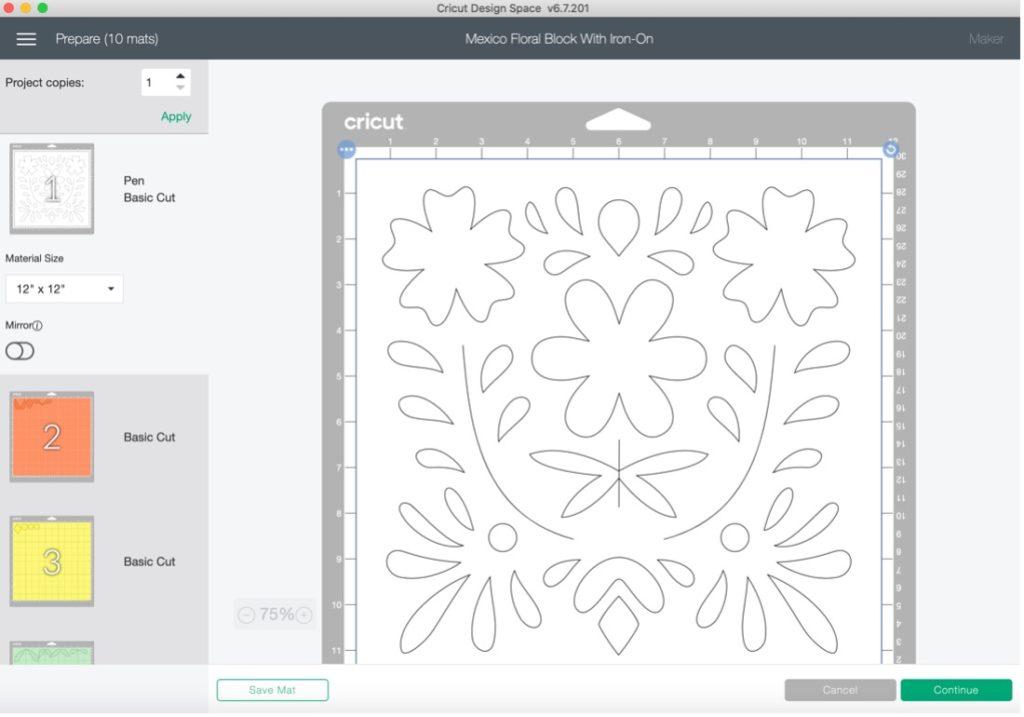 Cricut Maker cut fabric screen on Design Space