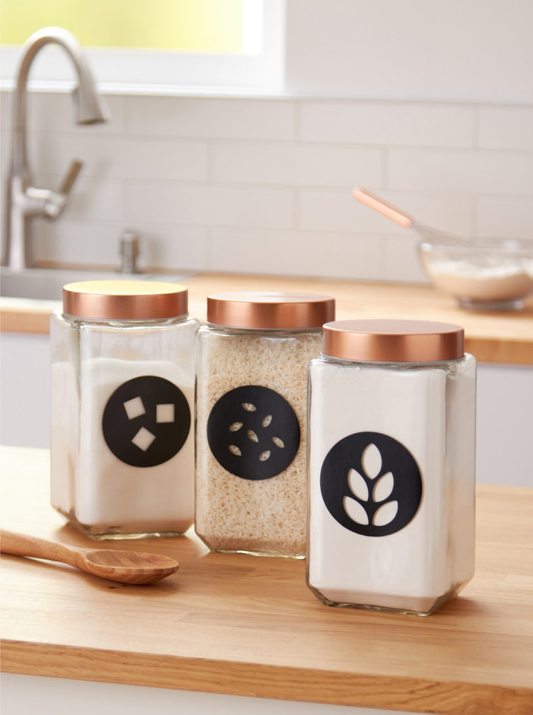 Dry ingredients in labeled jars