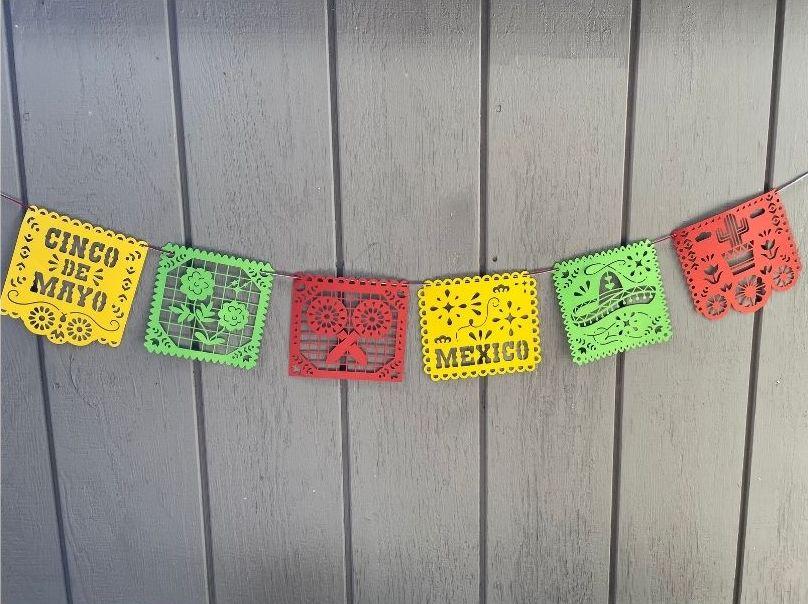 Papel picado banner for Cinco de Mayo