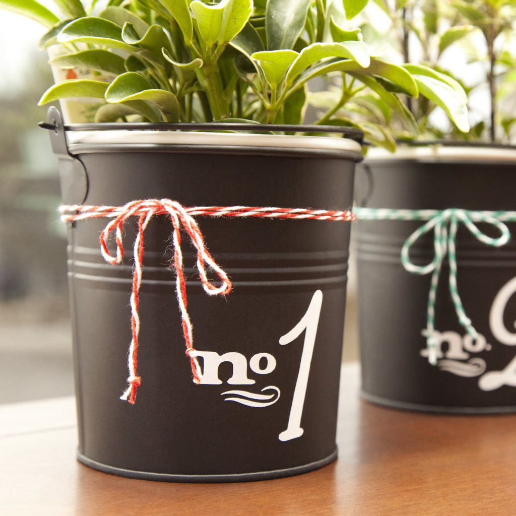 Numbered vinyl decal on potted plant