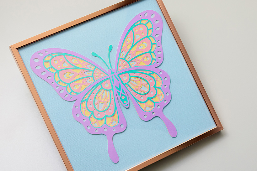 Layered butterfly art made with Smart Paper Sticker Cardstock