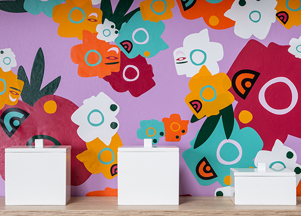 Abstract flower wallpaper acts as perfect rental home decor.