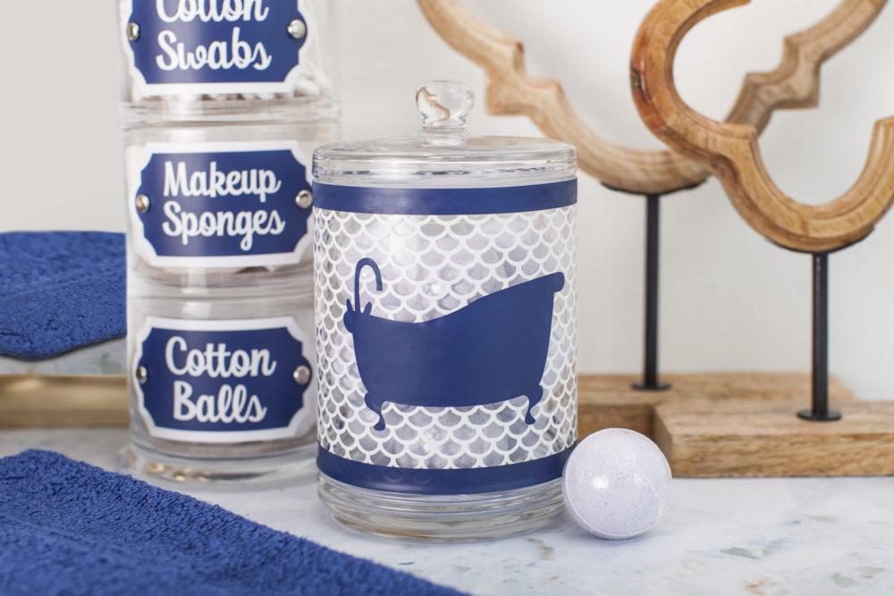 Labeled jars on bathroom counter