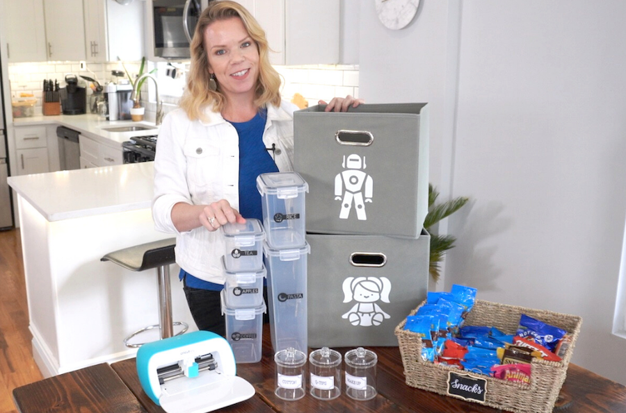 Cassandra Aarssen displays an array of labeled organization bins