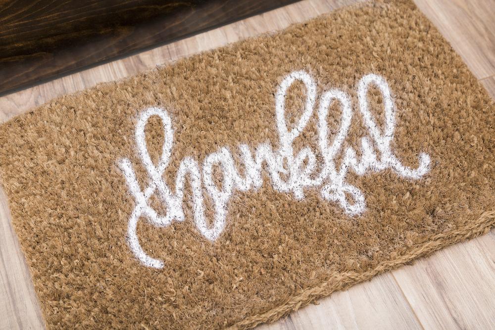 """""""Thankful"""" doormat"""