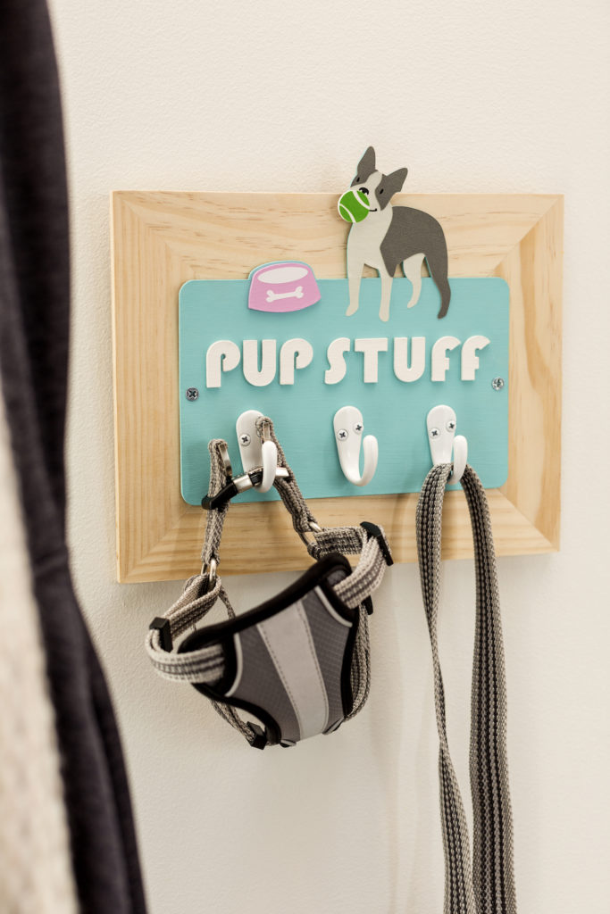 Pup stuff wall hanging with hooks