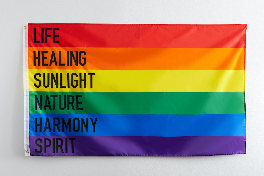 """A Pride flag showcasing the meaning of each color (""""life"""" for red, """"healing"""" for organge, """"sunlight"""" for yellow, """"nature"""" for green, """"harmony"""" for blue, and """"spirit"""" for purple) hangs on a wall."""