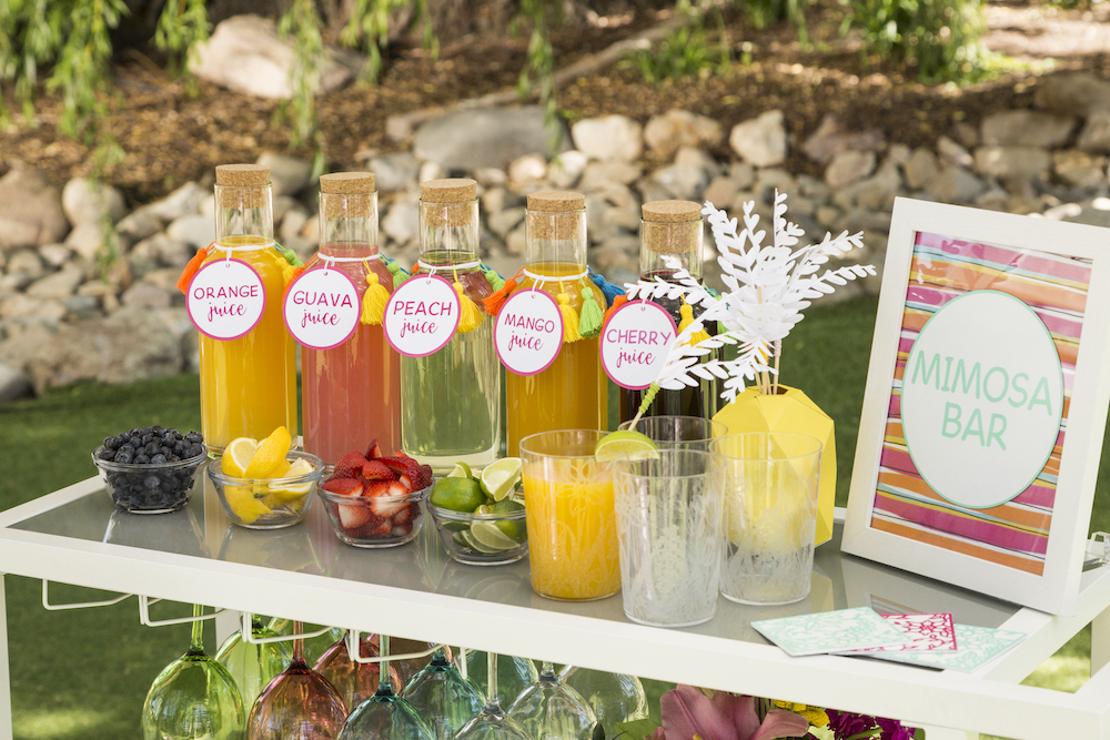 Mimosa bar on a table with summer decorations