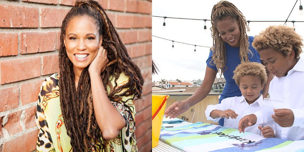 Photos of influencer and Black creator Breegan Jane, a professional headshot and her crafting with her children