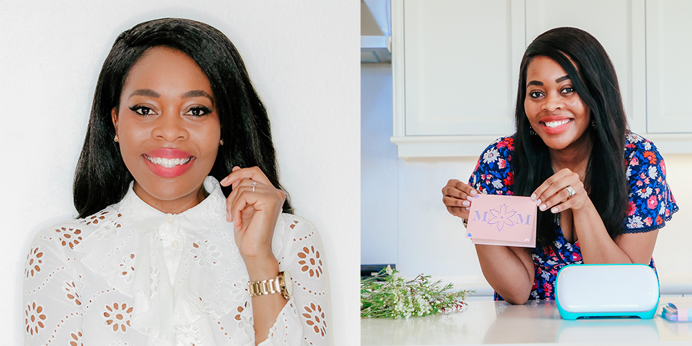 Photo of influencer and Black creator Keyma Olivar, a professional headshot of the creator next to an image of her holding up a card she made with the Cricut joy