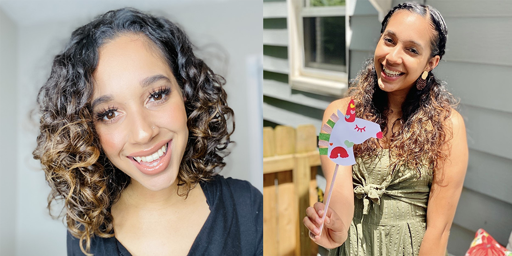 Images of influencer, teacher and Black creator MoNique Waters, a professional headshot of hers alongside a photo of her holding up a paper unicorn project made using Cricut