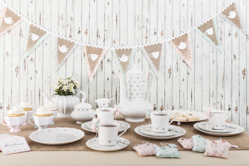 A beige and pastel tea party tablescape